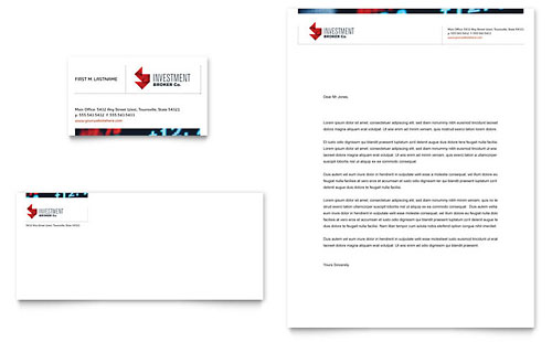 Investment Bank Business Card & Letterhead Template Design