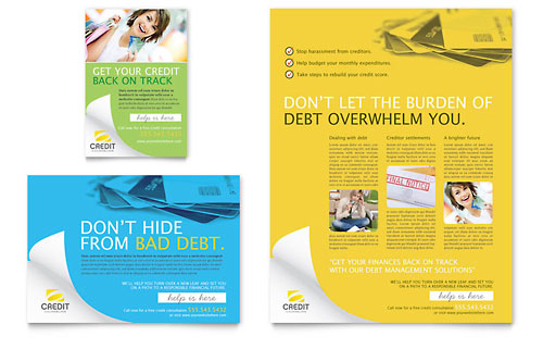 debt management flyers templates graphic designs