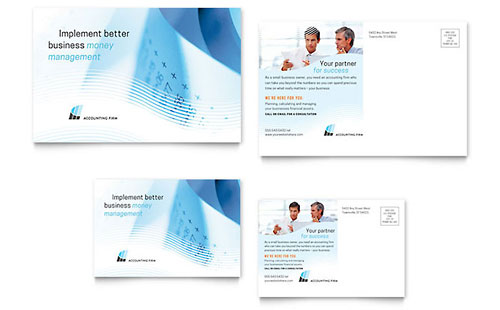Accounting Firm Postcard Template Design