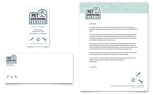 Pet Grooming Service Business Card & Letterhead Template Design