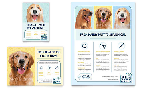 Pet Grooming Service Flyer & Ad Template Design