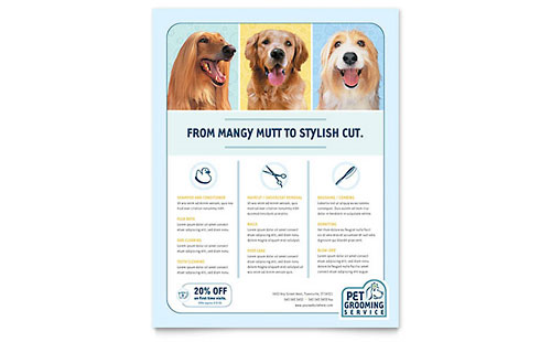 Pet Grooming Service Leaflet Template Example