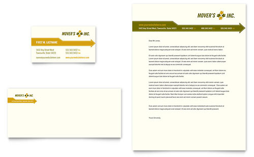 Moving Service Business Card & Letterhead Template