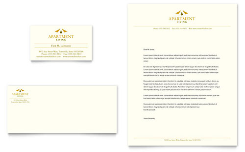 Apartment Living Business Card & Letterhead