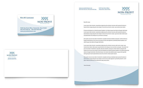Community Non Profit Business Card & Letterhead Template Design