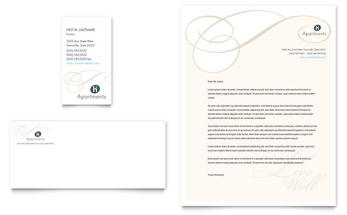 Apartment & Condominium Business Card & Letterhead Template Design