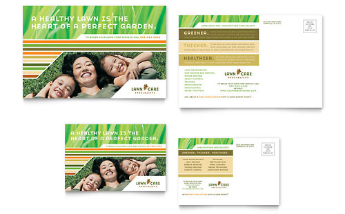 Lawn Care & Mowing Postcard Template Design