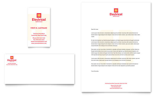 Electrical Services Business Card & Letterhead