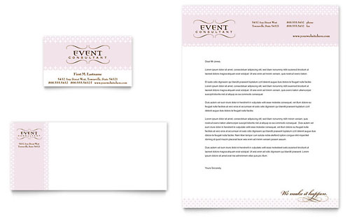 Wedding & Event Planning Business Card & Letterhead Template Design