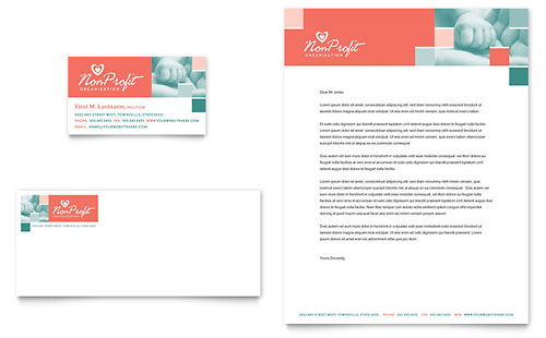 Non Profit Association for Children Business Card & Letterhead Template Design
