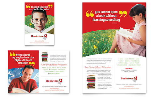 Bookstore & Library Flyer & Ad Template