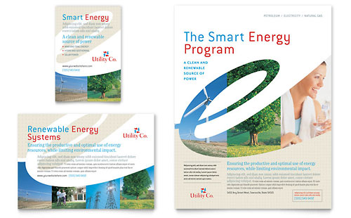 Utility & Energy Company Flyer & Ad Template Design