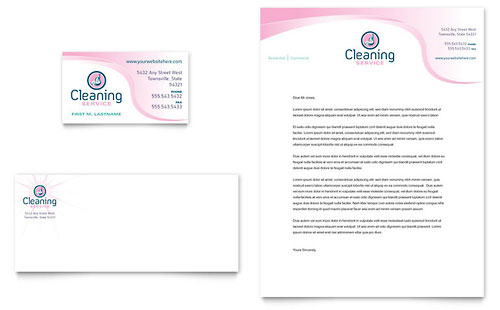 House Cleaning & Maid Services Business Card & Letterhead Template