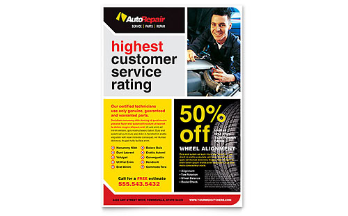 Auto Repair Flyer Template Design