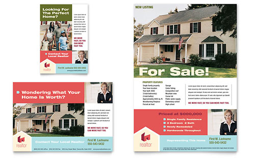 Real Estate Print Ads Templates Design Examples - Sell your house flyer template