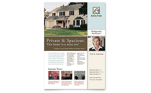 House For Sale Real Estate Flyer Template Design
