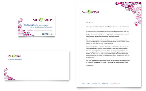 Nail Salon Business Card & Letterhead Template Design
