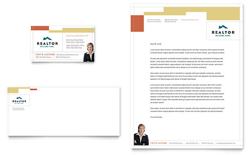 Realtor & Real Estate Agency Business Card & Letterhead Template Design