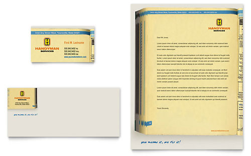 Home Repair Services Business Card & Letterhead Template Design