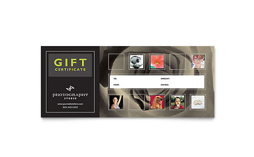 Photography Studio Gift Certificate Template Design