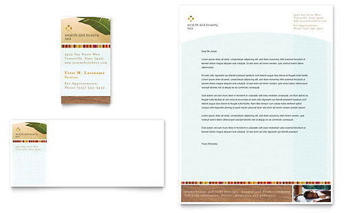 Health & Beauty Spa Business Card & Letterhead Template Design