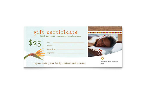 Health & Beauty Spa Gift Certificate Template Design
