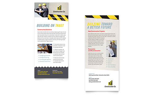 Industrial & Commercial Construction Rack Card Template Design