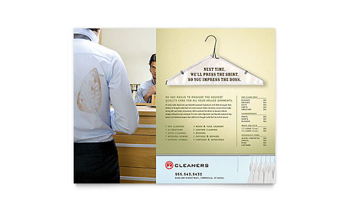 Laundry dry cleaners flyer ad template design for Laundry flyers templates