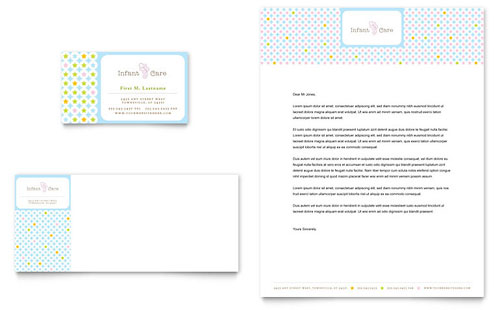 Infant Care & Babysitting Business Card & Letterhead Template Design