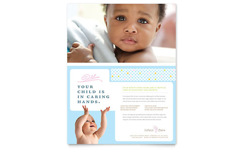 Infant Care & Babysitting Flyer Template Design