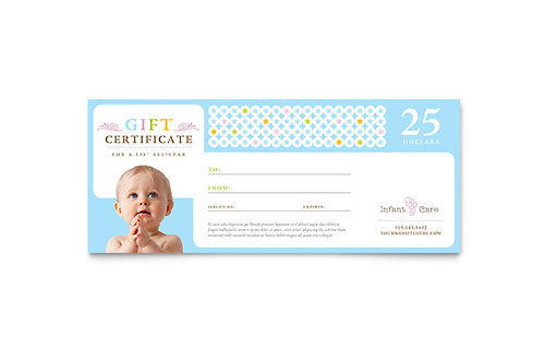 Infant Care & Babysitting Gift Certificate Template Design