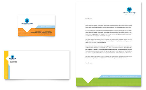 Home security systems business card letterhead template design reheart Images