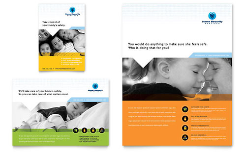Home Security Systems Business Card Letterhead Template Design