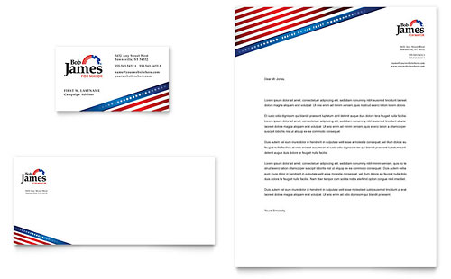 Political Campaign Business Card & Letterhead Template Design