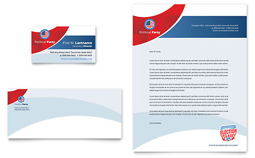 Election Business Card & Letterhead Template Design