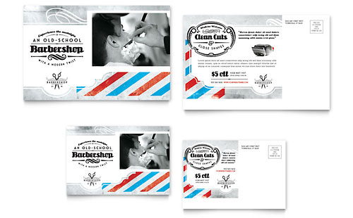 Barbershop Postcard Template Design