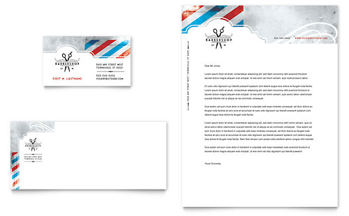 Barbershop Business Card & Letterhead Template Design