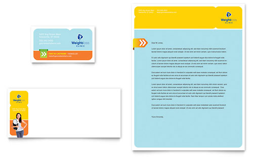 Weight Loss Clinic Business Card & Letterhead Template Design