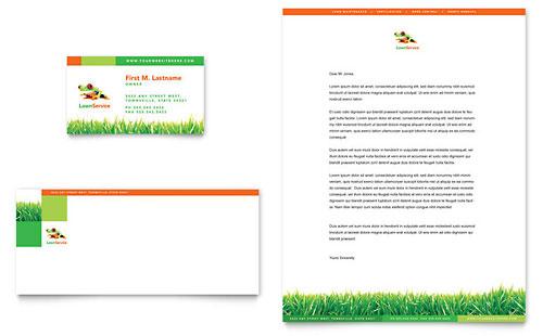 Lawn Maintenance Business Card Amp Letterhead Template Design