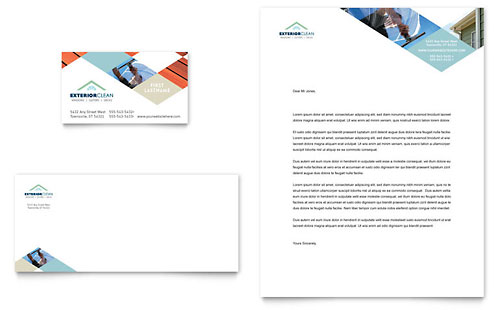 Window Cleaning & Pressure Washing Business Card & Letterhead Template Design