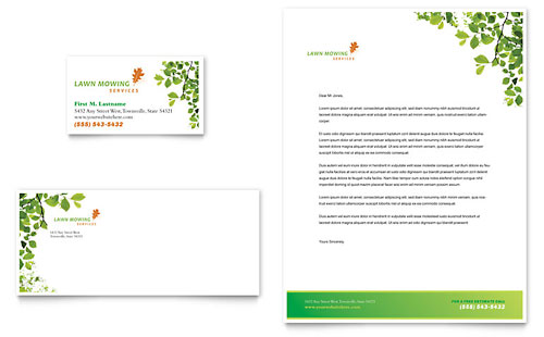 Lawn Mowing Service Business Card & Letterhead Design Template