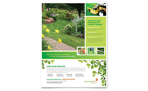 Gardening lawn care flyers templates graphic designs for Garden maintenance flyer template