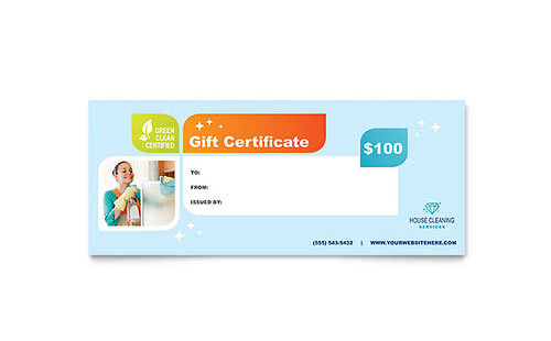 Cleaning Services Gift Certificate Template Design