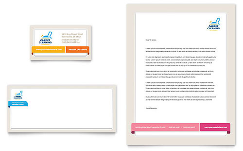 Carpet Cleaning Business Card & Letterhead Template Design