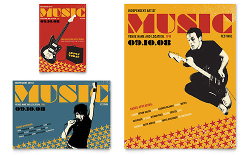 live music festival event flyer  u0026 ad template design