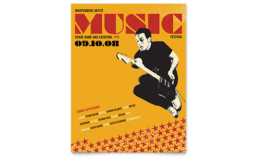 Live Music Festival Event Flyer Template Design
