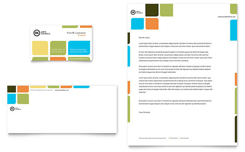 Arts Council & Education Business Card & Letterhead Template Design