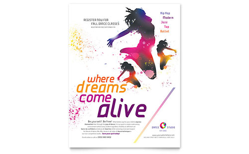 Dance School Leaflet Templates Design Examples