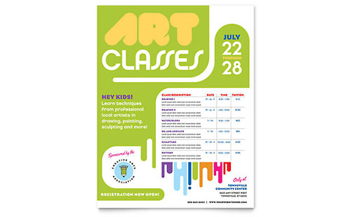 Kids Art Camp Class Flyer