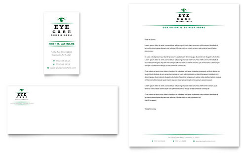 Optometrist & Optician Business Card & Letterhead